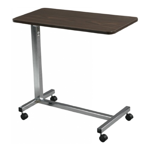 An example of a medical overbed table with wheels.