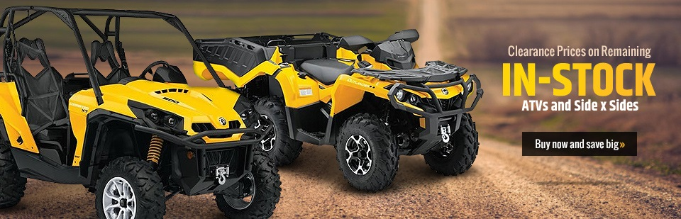 Get clearance prices on remaining in-stock ATVs and side x sides! Click here to view our showcase.