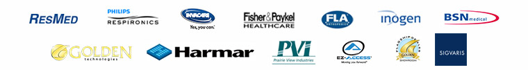 We carry products from ResMed, Philips Respironics, Invacare, Fisher & Paykel Healthcare, FLA Orthopedics, Inogen, BSN, Golden Technologies, Harmar, Prairie View Industries, EZ-Access, and Golden Flagship