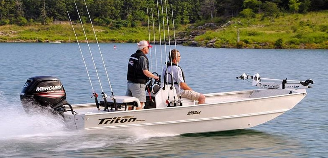 two men on a 2017 Triton Boats 1862 CC Bay boat
