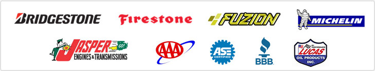 We offer products from Bridgestone, Firestone, Fuzion, and Michelin®. Jasper Engines. AAA. ASE Certified. BBB. Lucas Oil.