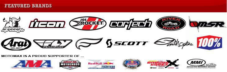 We carry products from Speed Strength, Scorpion Exo, Answer, Icon, Fly Racing, Yoshimura, Shoei, GMax, MSR and River Road. Motomax is a proud supporter of AMA, Local oil Motocross, Red Bull, Endure Cross, and MMI.