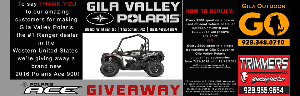 We're giving away a brand new 2016 Polaris Ace!