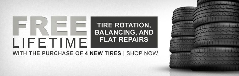 Get free lifetime tire rotation, balancing, and flat repairs with the purchase of 4 new tires! Click here to shop online.