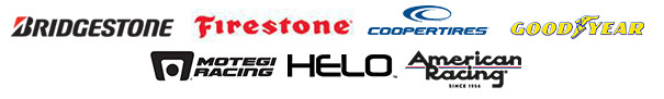 We carry products from Bridgestone, Firestone, Cooper, Goodyear, Motegi Racing, Helo, and American Racing.