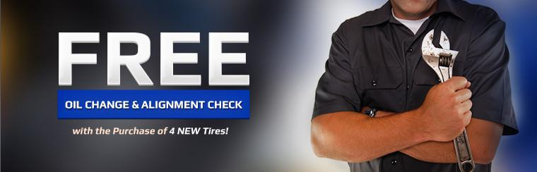 Get a free oil change and alignment check with the purchase of 4 new tires! Click here to print the coupon.