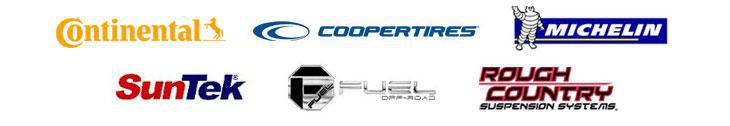 We carry products from Continental, Cooper, Michelin®, SunTek Window Films, FUEL Offroad, and Rough Country.