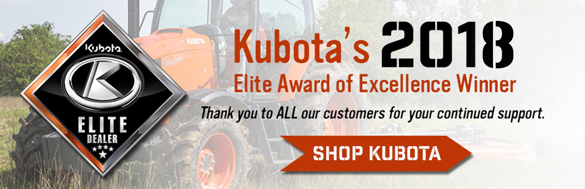 Kubota's 2018 Elite Award of Excellence Winner: Normangee Tractor & Implement, Co.