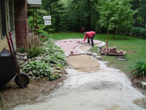 Laying stones for path