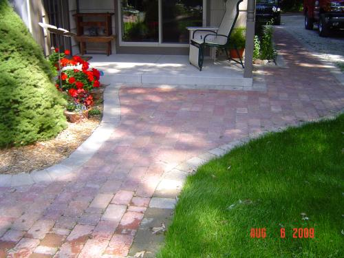 Finished stone pathway, patio