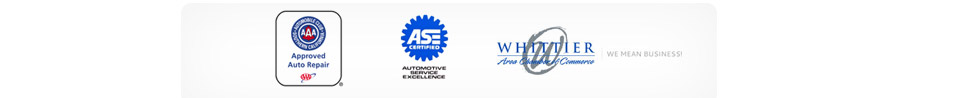 AAA Approved Auto Repair. ASE Certified Automotive Service Excellence. Whittier Area Chamber of Commerce.