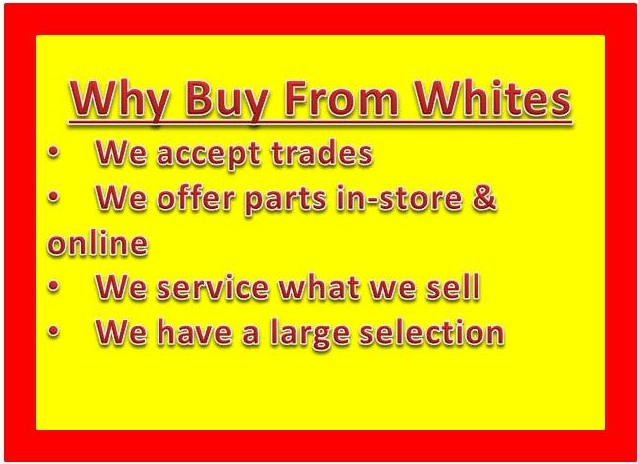 We accept trades. We offer parts in-store and online. We service what we sell! We have a large selection.