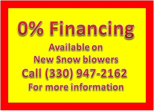 0% Financing on New Snow Blowers