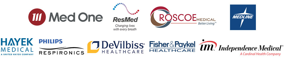 We proudly carry products from Med One, Resmed, Roscoe Medical, Medline, Hayek Medical, Philips Respironics, DeVilbiss® Healthcare, Fisher & Paskel Healthcare, and Independence Medical®!