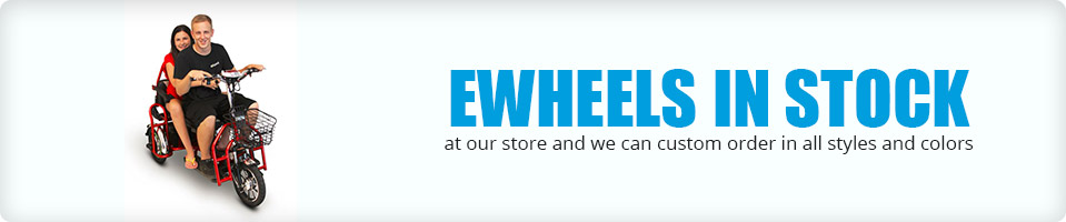 Ewheels in stock at our store and we can custom order in all styles and colors.