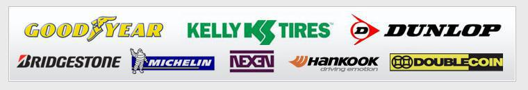 We carry Goodyear, Dunlop, Bridgestone, Michelin®, Kelly, Nexen, Hankook, and Double Coin.