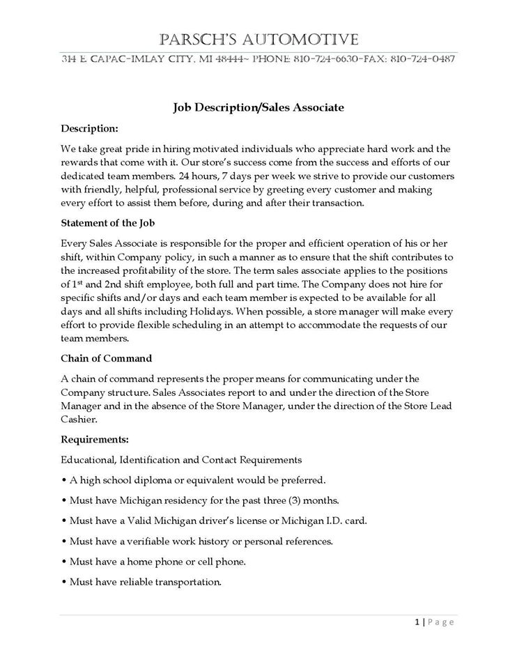 Job Description Cashier ParschS Automotive Imlay City Mi
