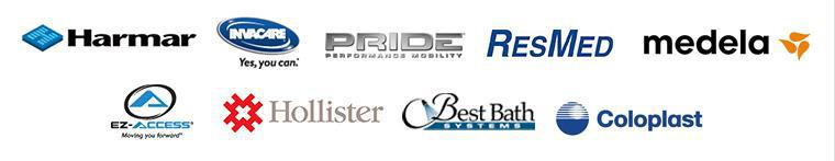 We carry products from Harmar, Invcare, Pride, ResMed, Medela, EZ-ACCESS, Hollister, Best Bath Systems, and Coloplast.