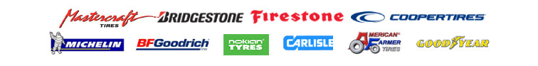 We carry products from Mastercraft, Bridgestone, Firestone, Cooper, Michelin®, BFGoodrich®, Nokian Tyres, Carlisle, American Farmer Tires, and Goodyear.