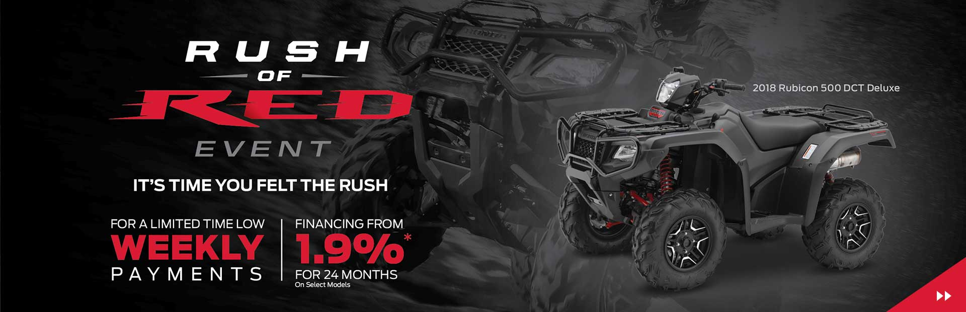 Honda Rush of Red Event is on Now! Financing from 1.9% for 24 months oac!