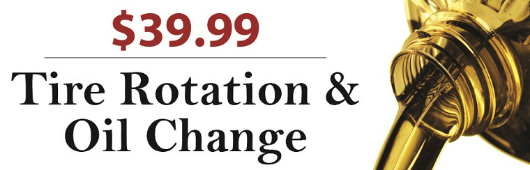 Tire rotation and oil change for $39.99