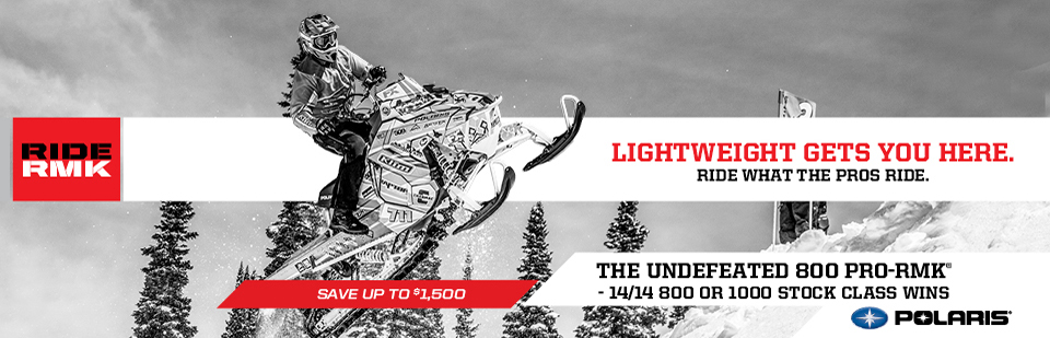 Ride RMK Lightweight gets you here. Ride What the Pros Ride. The Undefeated 800 PRO-RMK - 14/14 800