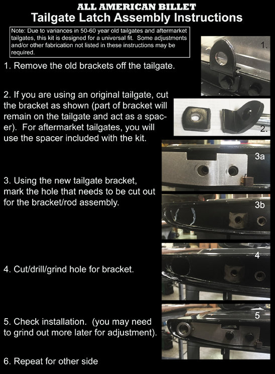 Instructions Tailgate Latch Kit - 1958-66 GM Fleetside