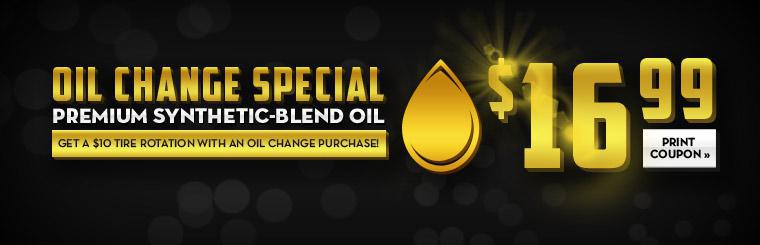 Get an oil change special for only $16.99! Plus, get a $10 tire rotation with an oil change purchase! Click here for the coupon.