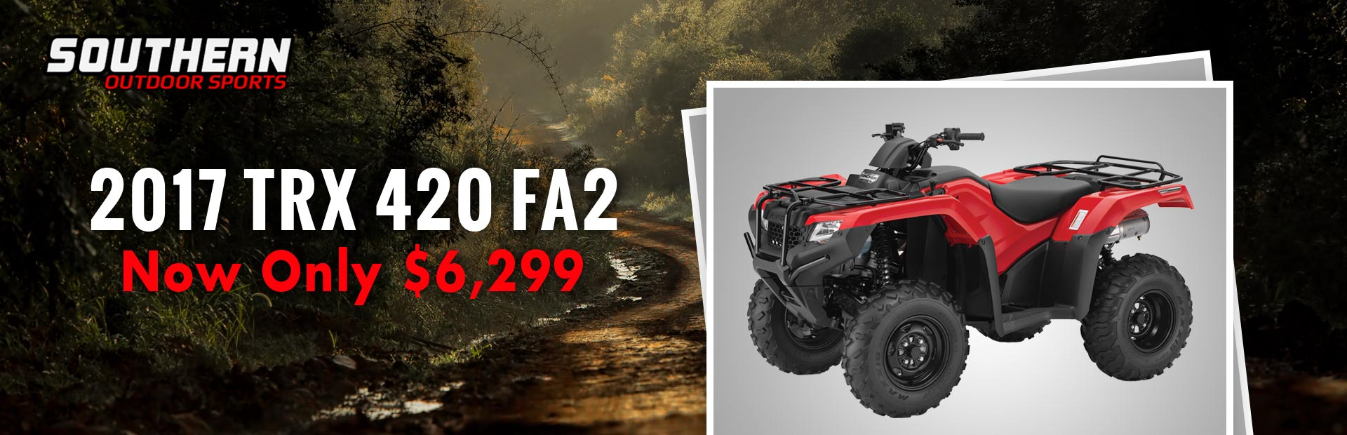 The 2017 Honda TRX 420 FA2 is now only $6,299!