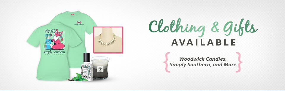 Clothing & Gifts Available for Woodwick Candles, Simply Southern, and More