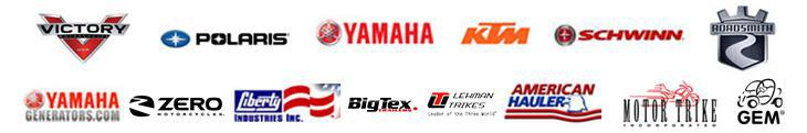 We carry products from Victory, Polaris, Yamaha, KTM, Schwinn, Roadsmith, Yamaha Generators, Zero Motorcycles, Liberty, BigTex, Lehman, American Hauler, Motor Trike, and GEM.