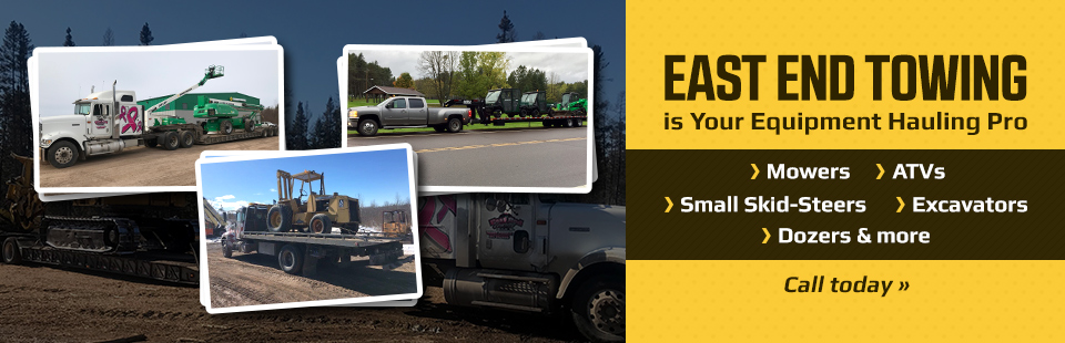 East End Towing is your equipment hauling pro! Click here for details.