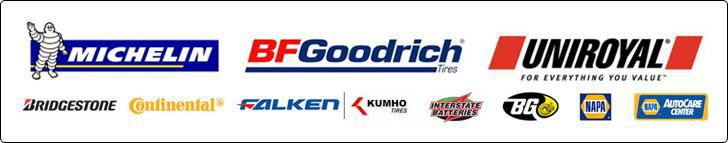 We offer great products from Michelin®, BFGoodrich®, Uniroyal®, Bridgestone, Continental, Falken, Kumho, Interstate Batteries, BG Products, and NAPA. We are a NAPA AutoCare Center.