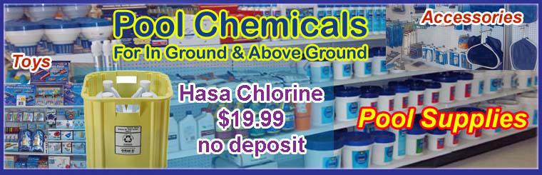Pool Supplies: Pool chemicals, accessories, & toys.