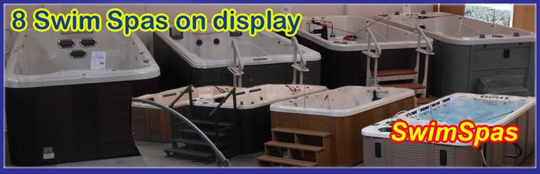 8 Swim Spas on display. Come swim in one today.