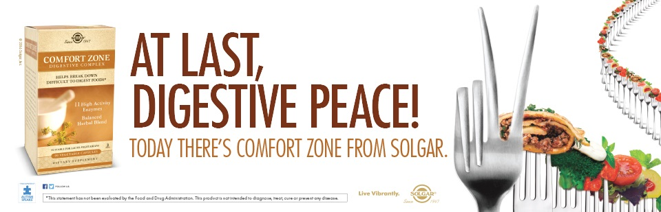 At last, Digestive peace! Today there's comfort zone from solgar.