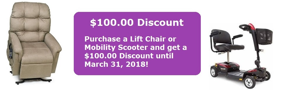$100 discount, lift chairs, mobility scooters, ADA medical supply
