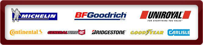We proudly carry products from Michelin®, BFGoodrich®, Uniroyal®, Continental, General Tire, Bridgestone, Goodyear, and Carlisle.