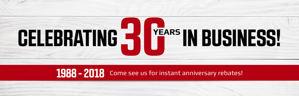 Joe's Small Engine of Pine Bush is celebrating 30 years in business! Come see us for instant anniversary rebates!