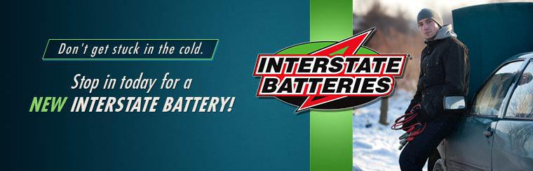 Don't get stuck in the cold. Stop in at Simmons Tire Company to get a new Interstate Battery.
