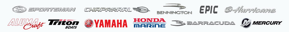 We carry products from Sportsman, Chaparral, Bennington, Epic, Hurricane, Alumacraft, Triton, Yamaha, Barracuda, and Mercury.