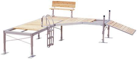 Two 4x10 Aluminum sections w/ removable cedar decking in a L-type configuration.