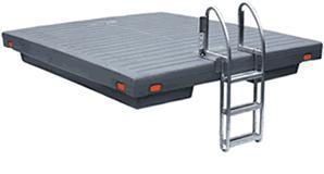 7.5 x 9.5 gray (available in yellow) poly swim raft and 8x8 cedar swim raft both w/ 3 step ladder.