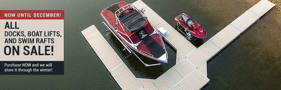 All docks, boat lifts, and swim rafts are on sale .Click here for details.