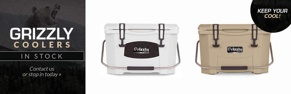 We have Grizzly coolers in stock! Contact us or stop in today.