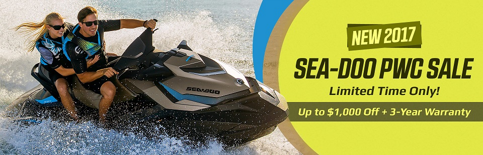 New 2017 Sea-Doo PWC Sale: Get up to $1,000 off, plus a 3-year warranty for a limited time only!