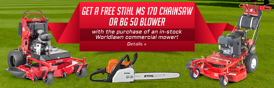 Get a free STIHL MS 170 chainsaw or BG 50 blower with the purchase of an in-stock Worldlawn commercial mower!