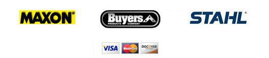 We carry Maxon, Buyers, and Stahl products. We accept Visa, Mastercard, and Discover.
