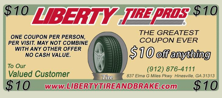 Liberty Tire Pros $10 Off Anything!