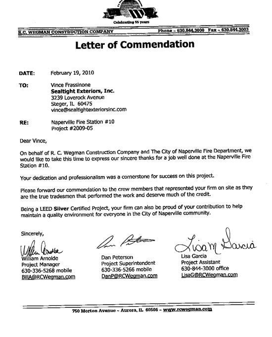 Letter of Commedation